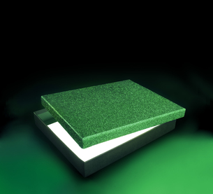 Green color gift box. Opened box against black background with copy space. Clipping path on the box and inside boxの写真素材 [FYI00780151]
