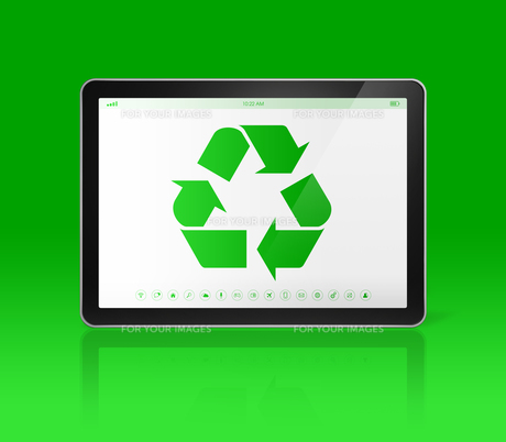 Digital tablet PC with a recycling symbol on screen. ecological conceptの素材 [FYI00780278]