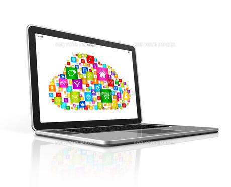 Cloud Computing Symbol on a laptopの素材 [FYI00780306]