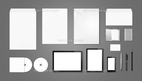Corporate branding mockup template, dark grey backgroundの写真素材 [FYI00780307]