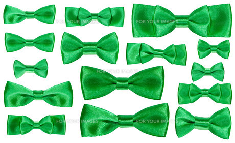 set of various green satin bow knots isolatedの素材 [FYI00780333]