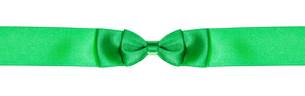 double bow knot on narrow green satin ribbonの写真素材 [FYI00780363]