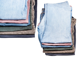 set of stacks of various jeans and corduroysの写真素材 [FYI00780371]