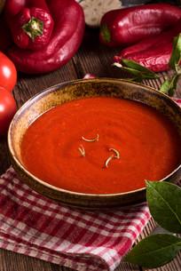 chilli tomato -soupの写真素材 [FYI00780485]