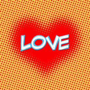 Love red heart inscription retro style pop artの写真素材 [FYI00780592]