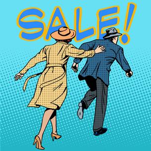 family running sale retro style pop artの写真素材 [FYI00780601]