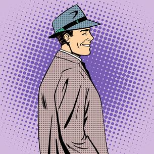 man coat hat retro styleの写真素材 [FYI00781000]