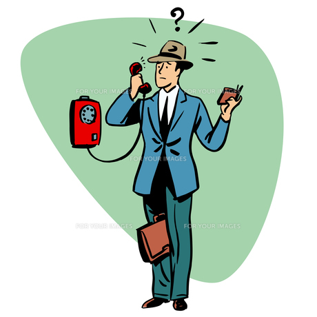 Talking phone communication business people concept characterの写真素材 [FYI00781169]