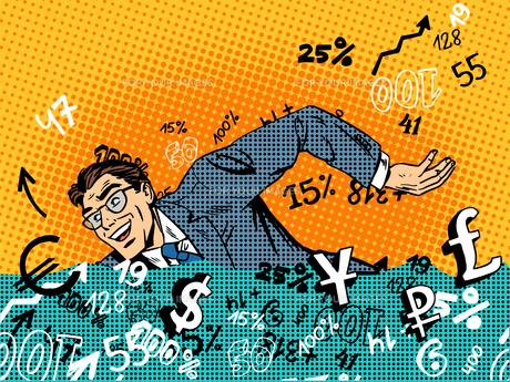 Businessman swimming money business concept finance banks marketの写真素材 [FYI00781179]