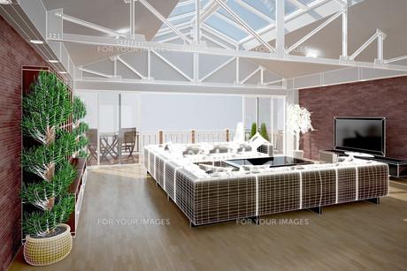 3D interior rendering of a living roomの写真素材 [FYI00781333]