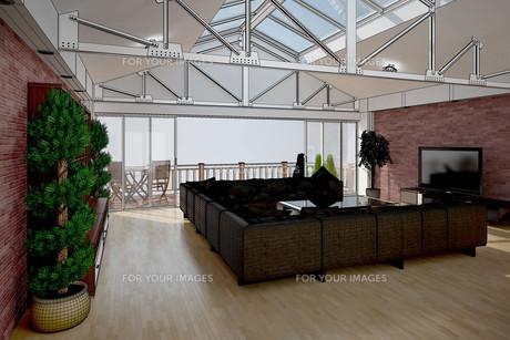 3D interior rendering of a living roomの写真素材 [FYI00781342]