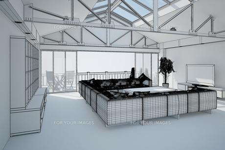 3D interior rendering of a living roomの写真素材 [FYI00781347]