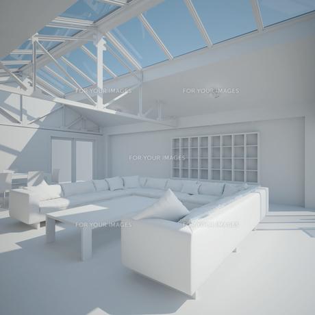 3D interior rendering of a living roomの写真素材 [FYI00781351]