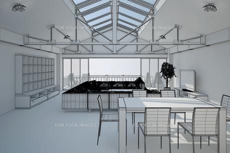 3D interior rendering of a living roomの写真素材 [FYI00781355]