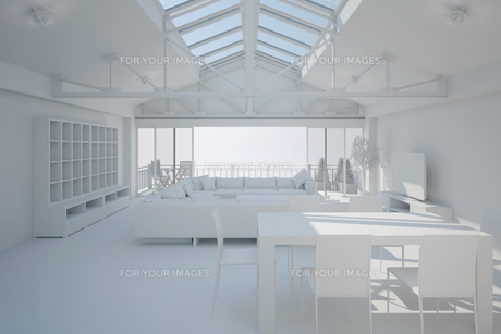 3D interior rendering of a living roomの写真素材 [FYI00781362]