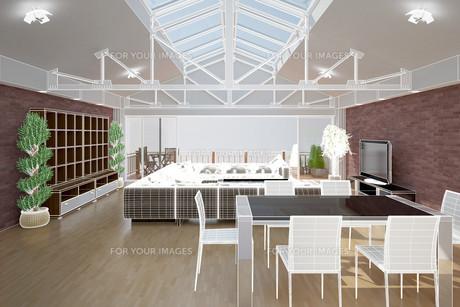 3D interior rendering of a living roomの写真素材 [FYI00781364]