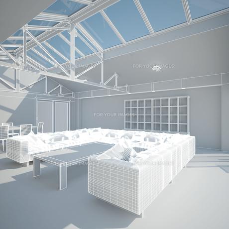 3D interior rendering of a living roomの写真素材 [FYI00781369]