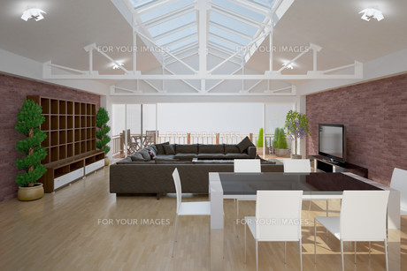 3D interior rendering of a living roomの写真素材 [FYI00781370]