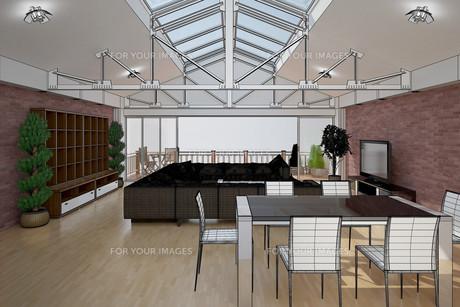 3D interior rendering of a living roomの写真素材 [FYI00781378]