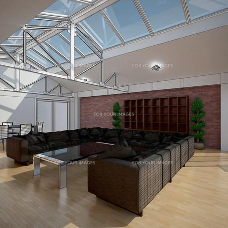 3D interior rendering of a living roomの写真素材 [FYI00781382]