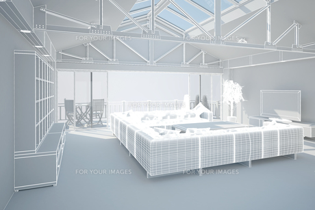 3D interior rendering of a living roomの写真素材 [FYI00781386]