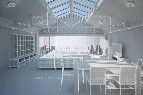3D interior rendering of a living roomの写真素材 [FYI00781390]