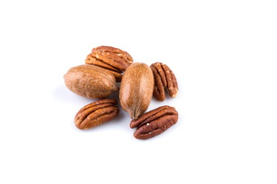Few pecan nuts isolated on whiteの写真素材 [FYI00781445]