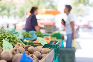 Farmers&#39  food market stall with variety of organic vegetable.の写真素材 [FYI00781685]