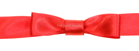 real red bow knot on wide satin ribbon isolatedの素材 [FYI00781762]