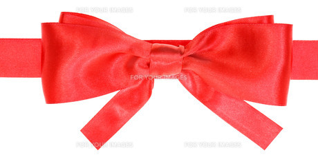 real red satin bow with square cut ends on ribbonの素材 [FYI00781763]
