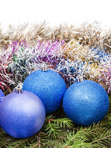 blue and violet Xtmas decorations on tree branchの写真素材 [FYI00781766]