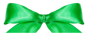 green silk bow knot isolated on whiteの素材 [FYI00781771]