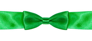 symmetric bow knot on green satin ribbon close upの素材 [FYI00781777]