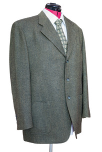 green tweed jacket with shirt and tie isolatedの写真素材 [FYI00781796]