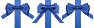 set of silk blue bows on vertical ribbons isolatedの素材 [FYI00781847]
