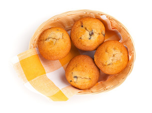 fresh muffins on white,top viewの写真素材 [FYI00782153]
