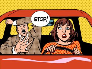 stop woman driver driving school panic calmの写真素材 [FYI00782264]
