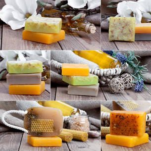 collage of colorful handmade soap bars,on wooden backgroundの写真素材 [FYI00782270]