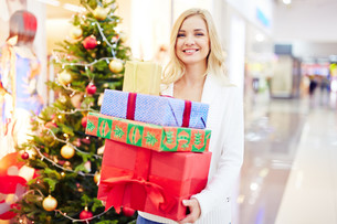 Woman with giftboxesの写真素材 [FYI00782466]
