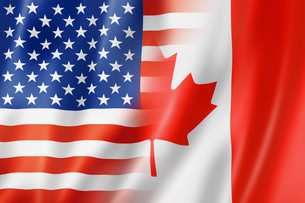 USA and Canada flagの写真素材 [FYI00782513]