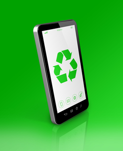 Smartphone with a recycling symbol on screen. ecological conceptの素材 [FYI00782514]