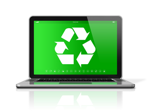 Laptop with a recycling symbol on screen. environmental conservation conceptの素材 [FYI00782521]