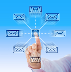 Index Finger Sending Email Icons Into Cyber Spaceの写真素材 [FYI00782555]