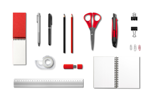 Stationery, office supplies mockup template, white backgroundの写真素材 [FYI00782560]