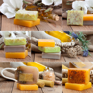collage of colorful handmade soap bars,on wooden backgroundの写真素材 [FYI00782690]