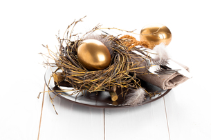 golden egg,table decoration on a white wooden backgroundの素材 [FYI00782756]