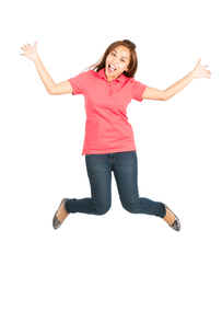 Extreme Happy Jumping Mid Air Asian Woman Spreadの写真素材 [FYI00782873]