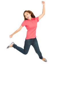 Extreme Celebration Jumping Asian Woman Fist Pumpの写真素材 [FYI00782899]