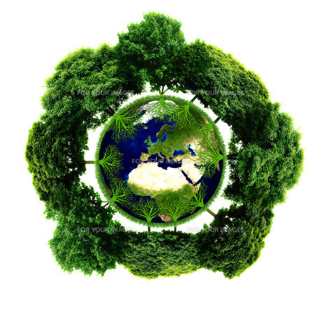 Ecology planet with with trees around. eco earth.の写真素材 [FYI00783053]