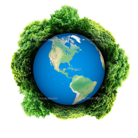 Ecology planet with with trees around. eco earth.の写真素材 [FYI00783066]